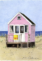 Coloured Pencil Drawing Beach Hut